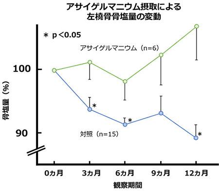 アサイゲルマニウム接種による左橈骨骨塩量の変動